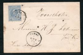 Cover met 2-letterstempel LEEUWARDEN naar VOORSCHOTEN.