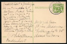 G - Briefkaart met kortebalkstempel HEERENVEEN naar Amsterdam.