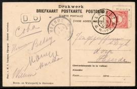 Briefkaart met grootrondstempel ELSPEET naar HEERDE op ansichtkaart staverden.