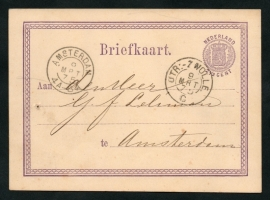 G - Briefkaart met kleinrondstempel UTR:-ZWOLLE. naar AMSTERDAM.