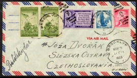 U.S.A. Air mail cover van BROOKLYN N.Y. naar Tsjechoslowakije