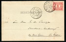 Briefkaart met grootrondstempel BALKBRUG naar DE KRIM (OV:).