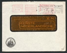 Firma cover 's GRAVENHAGE 1943 (venster cover) met roodfrankering en vlagstempel SCHEVENINGEN.