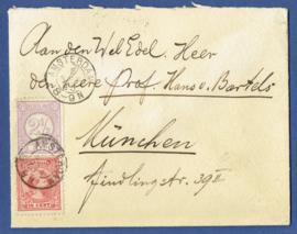 Cover met mengfrankering met emissie 1891 hangend haar. AMSTERDAM naar Munchen, Duitsland.