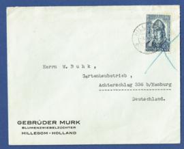 Firma cover HILLEGOM 1939 van HILLEGOM naar hamburg, Duitsland.