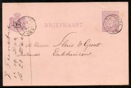 G - Briefkaart met kleinrondstempel GRIJPSKERK naar ENKHUIZEN.