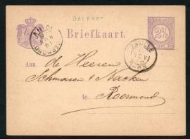 G - Briefkaart met langstempel DALFSEN en kleinrondstempel ZWOLLE naar ROERMOND.