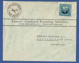 Firma cover DOETINCHEM 1949 van DOETINCHEM naar Zwitserland. Luchtpost.