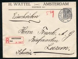 Firma cover AMSTERDAM 1933 met kortebalkstempel AMSTERDAM naar Zwitserland. Aangetekend.