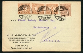 Firma briefkaart AMSTERDAM 1923 met langebalkstempel AMSTERDAM naar Berlijn, Duitsland.