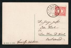 Briefkaart met grootrondstempel HENSBROEK naar Oostwoud.