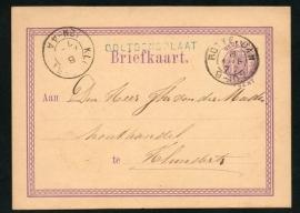 G - Briefkaart met langstempel OOLTGENSPLAAT en kleinrondstempel ROTTERDAM naar KLUNDERT.