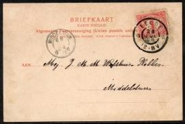 Briefkaart met grootrondstempel EELDE naar MIDDELSTUM (zonder maand). op ansichtkaart Paterswolde. VENNEBROEK Paterswolde.