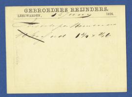 Particulier postwaardestuk LEEUWARDEN 1876, GEBROEDERS REIJNDERS. Van LEEUWARDEN naar DORDRECHT.