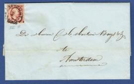 MAASTRICHT 1857. Vouwbrief van MAASTRICHT naar AMSTERDAM.