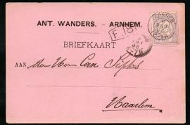 Firma briefkaart ARNHEM 1893 met kleinrondstempel ARNHEM naar HAARLEM.