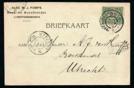 Firma briefkaart 's HERTOGENBOSCH 1904 met grootrondstempel 's HERTOGENBOSCH naar UTRECHT.