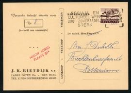 Firma briefkaart DEN HAAG 1965 met vlagstempel 's GRAVENHAGE naar Rotterdam.