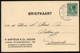 Firma briefkaart GOUDA 1930 met kortebalkstempel GOUDA naar Dordrecht.
