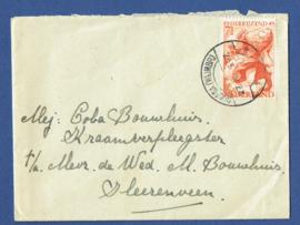 Cover met langebalkstempel OUDEGA WIJMBRITSERADEEL naar Heerenveen.