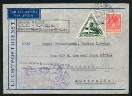 Roltanding 43 op luchtpost cover EERSTE VLUCHT AMSTERDAM-BATAVIA-SIDNEY 28 JUNI 1938.