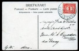 Briefkaart met kortebalkstempel (proefstempel) UTRECHT-STATION 2 naar Den Haag. Op ansichtkaart UTRECHT, Oude Gracht.
