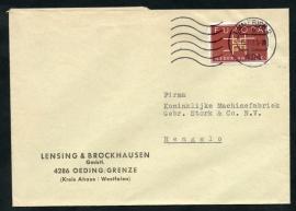 Duits firmacover met internationale combinatie. Nederlands zegel, Duits stempel.