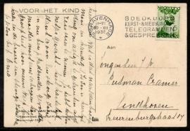 Briefkaart Voor Het Kind met Voor Het Kind zegel. Vlagstempel `S GRAVENHAGE naar Eindhoven.