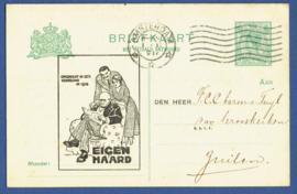 Particulier postwaardestuk AMSTERDAM 1918. EIGEN HAARD. AMSTERDAM naar  Zuilen.