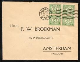 Cover met vlagstempel UTRECHT naar Amsterdam.