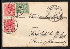 Cover met langebalkstempel BREDA naar Duitsland. Met originele brief.