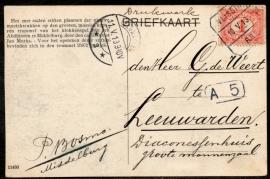 Briefkaart met blokstempel VLISSINGEN - BREDA naar LEEUWARDEN. Op ansichtkaart Middelburg (klokkenspel Abdijtoren).