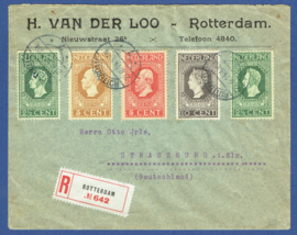 Firma cover ROTTERDAM 1914 met jubileum 1913 met langebalkstempel ROTTERDAM naar Strassburg, Duitsland. Aangetekend.