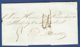 NIJVERDAL 1865. Vouwbrief met langstempel NIJVERDAL verstuurd naar ZWOLLE. Brief van Robert Campbell.