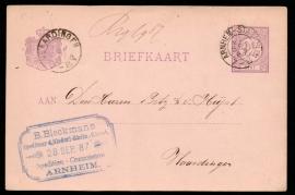 G - Briefkaart met kleinrondstempel ARNHEM-STATION naar VLAARDINGEN.