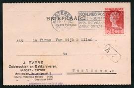 Firma briefkaart AMSTERDAM 1924 met vlagstempel AMSTERDAM naar Westzaan.