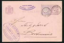 G - Briefkaart met bijfrankering en kleinrondstempel DORDRECHT naar Duitsland.