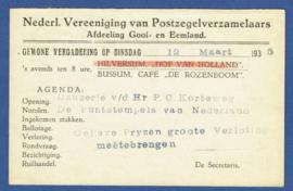 Particulier postwaardestuk, Nederl. Vereeniging van Postzegelverzamelaars, Afdeling Gooi- en Eemland. 1935. V-Kaart.