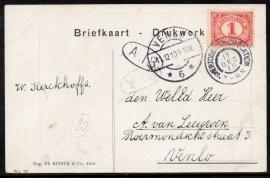 Briefkaart met grootrondstempel `SHERTOGENBOSCH-STATION naar VENLO.