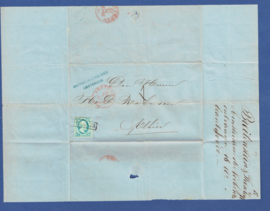 AMSTERDAM 1861. Briefomslag met firma stempel. Lokaal verzonden.