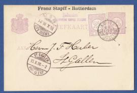 Particulier postwaardestuk ROTTERDAM 1886, FRANZ STAPFF, ROTTERDAM. Van ROTTERDAM naar St. Gallen, Zwitserland.