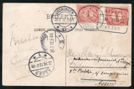 Briefkaart gestuurd naar GRONINGEN en doorgestuurd naar Infanterie in ASSEN. Op Ansichtkaart NIJMEGEN, Belvedere.