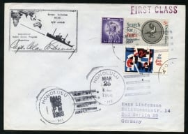 U.S.A. FIRST CLASS Cover van HONOLULU naar Duitsland. International Indian Ocean Program Expedition. Met handtekening.