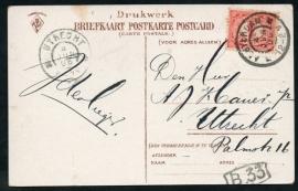 Briefkaart met grootrondstempel AMSTERDAM (nachtuurkarakter 12-2 V) naar UTRECHT. Op ansichtkaart AMSTERDAM.