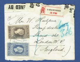 Censuur cover met jubileum 1913 van 's GRAVENHAGE naar Londen, Engeland. Aangetekend