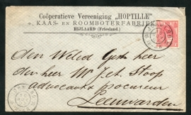 Firma cover HIJLAARD 1903 met grootrondstempel JORWERD naar LEEUWARDEN.
