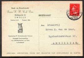Firma briefkaart ZWOLLE 1947 met kortebalkstempel ZWOLLE STATION naar Amsterdam.