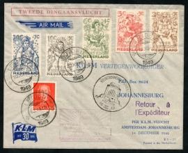 KLM Luchtpostcover TWEEDE DINGAANSVLUCHT. Amsterdam naar Johannesburg, Voortrekkersmonument.
