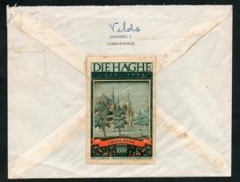 Cover met vlagstempel `s GRAVENHAGE naar Amsterdam. Met sluitzegel Den Haag, DIE HAGHE 1248-1948 Grote kerk.