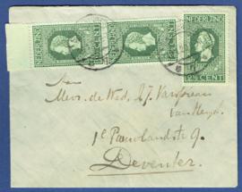 Cover met jubileum 1913  interlokaal verzonden naar DEVENTER. 2,5 cent in paartje met velrand.